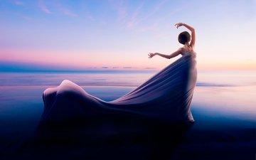 берег, девушка, платье, горизонт, волна, genesis