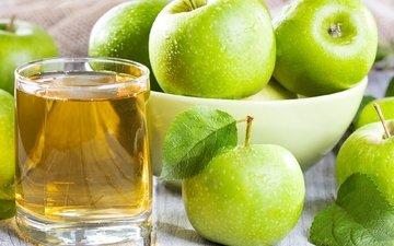 фрукты, яблоки, зеленые, стакан, сок, яблочный сок