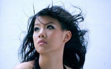 девушка, волосы, лицо, ветер, японка, азиатка