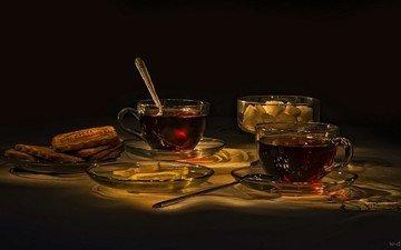 лимон, чай, чашки, печенье, натюрморт, ложки