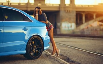 синий, девочка, модель, ноги, ауди, s3, vorsteiner