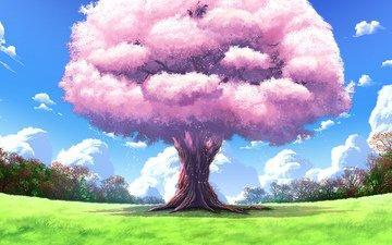 art, nature, tree, landscapes, anime, upscale