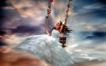 небо, девушка, розы, качели, невеста, деревье