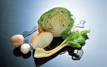 вода, зелень, грибы, лук, овощи, поверхность, капуста