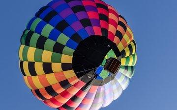 небо, полет, корзина, воздушный шар