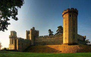 небо, деревья, замок, великобритания, англия, крепость, great britain, the united kingdom, уорикский замок, уорик, уорикшир
