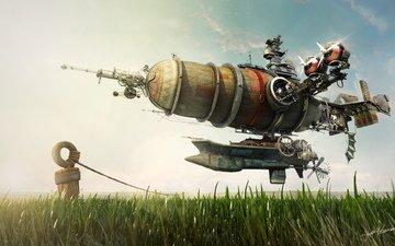 fantasy, fiction, aviation, the airship, render