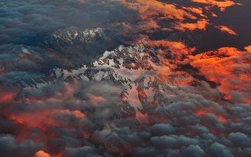 облака, горы, утро, новая зеландия, остров южный, южные альпы