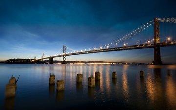 ночь, огни, вода, столбы, берег, отражение, пейзаж, горизонт, мост, город, залив, сша, сан-франциско, калифорния, lee sie