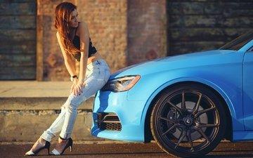 девушка, синий, колеса, модель, джинсы, ауди, s3, vorsteiner