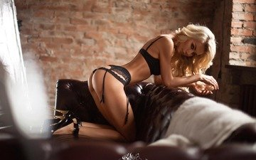 girl, pose, blonde, look, model, room, legs, photographer, figure, body, linen, lace, ksenia paterna