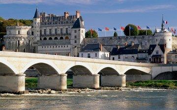 небо, деревья, река, мост, замок, дома, дворец, здания, крепость, франция, франци, chateau, амбуаз