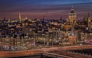 огни, вечер, город, канал, дома, нидерланды, амстердам