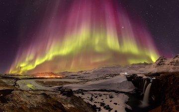 ночь, звезды, северное сияние, исландия