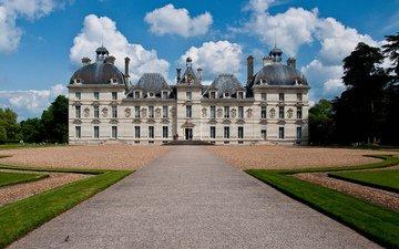 небо, деревья, замок, дворец, франция, франци, chateau, замок шеверни, шато-де-шеверни