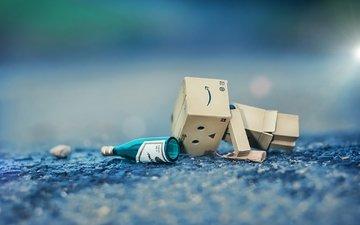 the situation, bottle, danbo, dambo, cardboard man, cardboard robot
