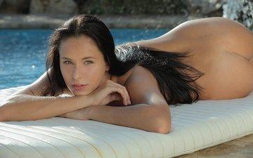 девушка, взгляд, попа, бассейн, mira, x-art