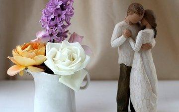 цветы, розы, статуэтка, пара, чашка, жёлтая, белая, фигурка, гиацинт, жених и невеста