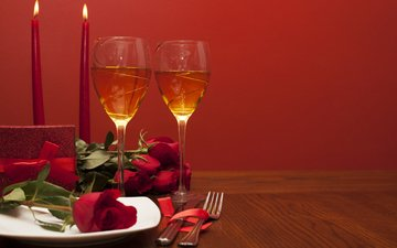 candles, roses, champagne, valentine's day, 14 feb