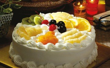 candles, cream cake, plants, fruit, oranges, table, cherry, basket, berries, kiwi, box, cake, dessert, pot, pineapple