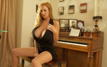 блондинка, комната, грудь, пианино, джордан карвер