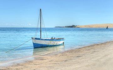 море, пляж, лодка, яхта
