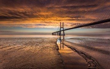море, песок, пляж, мост, побережье, португалия, лиссабон