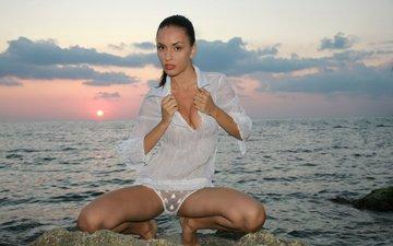 girl, sea, look, panties, briefs, shirt, chemise