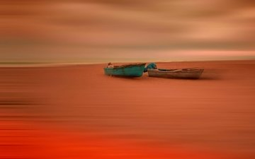 берег, лодки, отлив