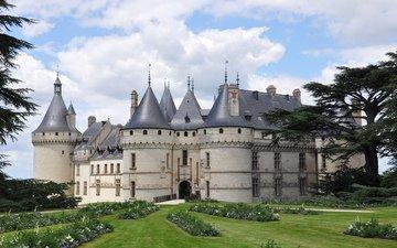 небо, цветы, деревья, замок, крепость, франция, франци, chateau, замок шомон, chaumont