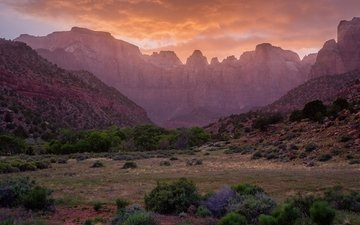 небо, горы, камни, пейзаж, штат аризона, national monument
