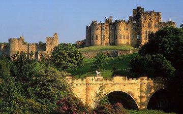 небо, деревья, мост, замок, великобритания, англия, статуи, крепость, great britain, алник, нортамберленд, alnwick castle, the united kingdom