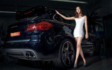 девушка, азиатка, автомобиль, авто-шоу