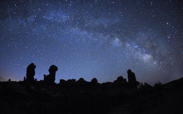 небо, ночь, звезды, млечный путь, национальный парк арки