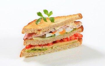 бутерброд, сыр, хлеб, помидоры, яйцо, сэндвич, ветчина