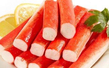 зелень, фрукты, лимон, цитрусы, морепродукты, крабовые палочки