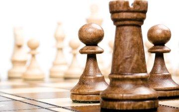 макро, шахматы, фигуры, клочки, дерева, борт, шахматная