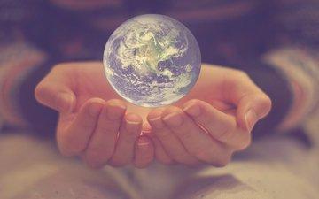 земля, планета, мир, шар, руки, пальцы, стеклянный шар