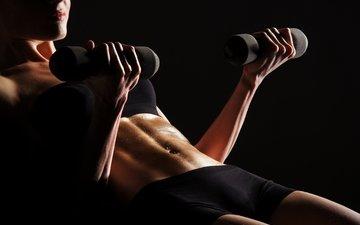 девушка, фитнес, гантели, бодибилдинг, тренировка