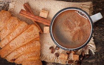 напиток, корица, зерна, кофе, кружка, кофейные, сахар, выпечка, круассан