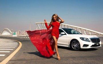 девушка, платье, модель, красное, мерс, алина ильина