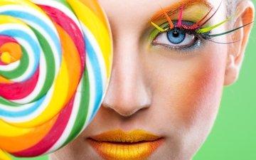 стиль, радуга, модель, губы, лицо, макияж, ресницы, леденец