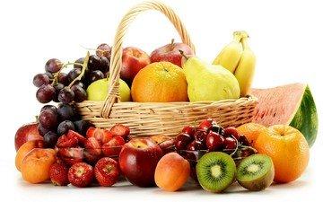 виноград, фрукты, яблоки, апельсины, клубника, черешня, арбуз, корзина, ягоды, киви, бананы, груши, абрикосы, нектарин