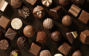 конфеты, черный, белый, шоколад, сладкое, конфета, в шоколаде, молочный