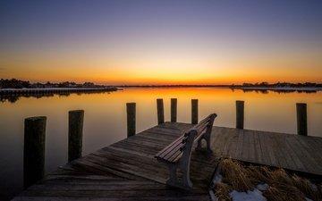 озеро, закат, горизонт, мост, скамья