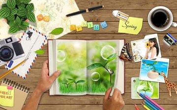 цветы, кофе, бабочка, руки, письмо, творчество, волшебная тетрадь