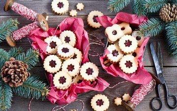 новый год, ветки, джем, шишки, печенье, выпечка, ножницы, нитки, anna verdina, катушки