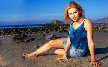 море, блондинка, пляж, актриса, элиша катберт