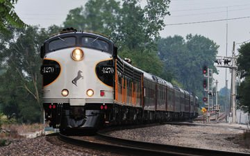 железная дорога, поезд, фары, состав, пассажирский поезд