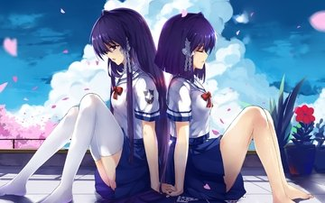 the sky, flowers, art, clouds, petals, form, anime, girls, sakura, clannad, fujibayashi kyou, haraguroi you, student